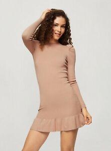Miss Selfridge Womens Brown Puff Sleeve Rib Mini Dress Slim Fit Jumper Bodycon