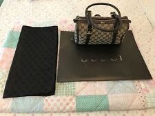 Authentic Made in Italy Gucci Mini Boston Bag GG Logos Leather & Canvas