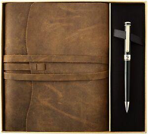 Premium Leather Journal Gift Set - Black Lacquer & 24K Gold Luxury Ballpoint Pen