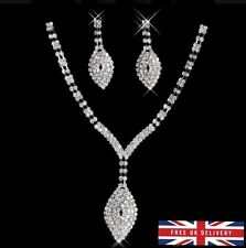 Luxury White Shiny Bridal Evening Jewellery Set Drop Earrings and Necklace *UK*