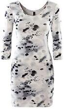 H&M Divided Stretch Mini Kleid 36 XS weiß grau Dots Punkte Viskose Elasthan NEU