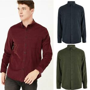 M&S Marks and Spencer Mens Fine Cotton Corduroy Needlecord Shirt XL - 4XL
