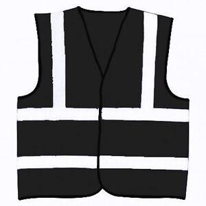 Black Safety Reflective Hi Visibility Hi Viz Vest, 8 Sizes, Riding, Events etc