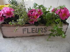 Pink Window Box Planter For Flower  Herb Pots Shabby Vintage Style 4 Pot Liners
