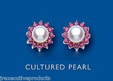Ruby Earrings Pearl Stud Sterling Silver Studs Freshwater Pearl Natural Ruby