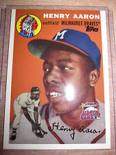HENRY AARON OUTFIELD MILWAUKEE BRAVES TOPPS 2000 BASEBALL CARD CARTE 1 OF 4 MINT