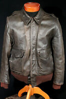 VINTAGE 1950'S HEAVY BROWN LEATHER FLIGHT STYLE JACKET SIZE MED