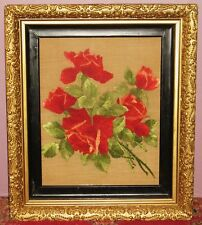 "ANTIQUE 1800's HAND MADE CREWELWORK FLORAL PANEL 20"" X 15"" ON LINEN FRAMED"