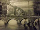 paris street eiffel tower black white large oil painting canvas france original