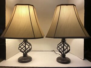 Matching Spiral Metal Cage Table Lamps with Shades