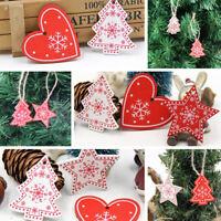 10Pc Wooden Merry Christmas Hanging Ornaments DIY Xmas Tree Pendants Decorations