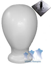 Blank White Unisex Head Styrofoam And Tabletop Plastic Support Stand