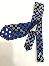 Paul Smith Cravate Damson Fond avec Bleus Pois Made in Italy 100% Soie