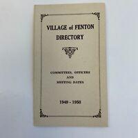 Vintage Brochure Pamphlet Village Of Fenton Michigan MI Directory History Flint