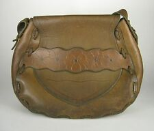 Handbag Brown Leather Hand Tooled Boho Hippie Shoulder Purse Distressed 1970