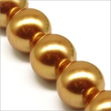 Lot Of 10 Pearly Beads Glass 14mm Golden Dark