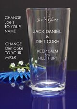 Personalised Engraved Pint mixer spirit JACK DANIEL AND DIET COKE  gift glass 6