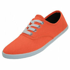 Womens Classic Canvas Plimsoll Shoes Casual Sneakers Tennis Lace Up Sizes 5-11