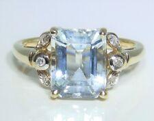 9CT  BAGUETTE AQUA GREEN AMETHYST  DIAMOND RING SIZE N  9 CARAT YELLOW GOLD 3.2g