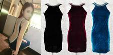Stretch, Bodycon Velvet Solid Dresses for Women