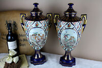 PAIR French porcelain Vases Romantic putti angels scene floral decor marked  50'