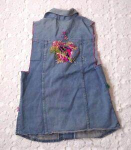 bohemian boho vest hippie festival denim vest 1970s with faux leather Vintage 70s denim vest size S M