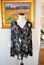 DKNY Black Sheer Floral Silk Blouse Size S