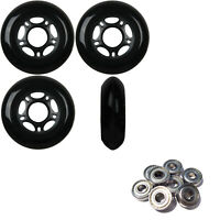 Inline Skate Wheels 80mm 89A Outdoor Black Rollerblade 4Pk with Abec 5 Bearings