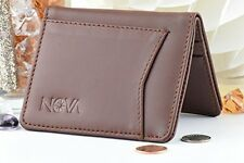 Genuine Leather Dollar Size Slim Small Front Pocket TEENS Wallet Card Case Brwn