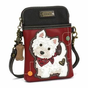 NEW CHALA WESTIE DOG PUPPY CELL PHONE CROSSBODY PURSE STRAP BURGUNDY WHITE