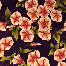Stunning Morning Glory Floral, Peach & Red on Eggplant Cotton Fabric, BTY