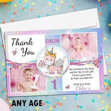 10 Personalised Girls Rainbow Unicorn Birthday Thank You PHOTO Cards N265