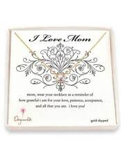 Dogeared I Love Mom Gold Dipped Necklace with Pearl NIP