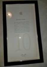 Apple Computer Employee 10 Year Service Award Steve Jobs Facsimile Autograph