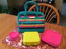 New TUPPERWARE Summer Jam 4 Pc Lunch Bag Set ~Sandwich Keeper Snack Cup Lunch It