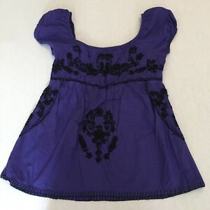 ATMOSPHERE Ladies Purple Off Shoulder Gypsy Style Embroidered Top  Size UK 12