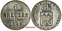 Austria Franz Joseph I Silver 1849 C 6 Kreuzer KM# 2200