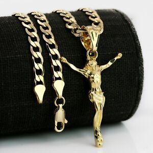 "Hip Hop Gold Plated Diamond Cut Cross Jesus Pendant 20"" Chain Cuban Necklace"