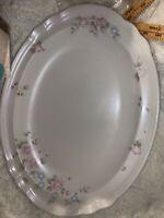 "Pfaltzgraff Tea Rose 15"" x 10"" Oval Large Serving Tray Platter Deep Well USA"