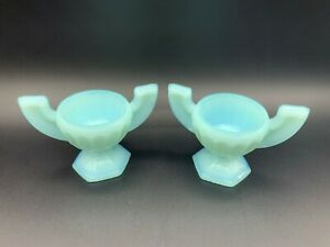 Victorian French Milk Blue Opaline Glass Miniature Cup Bowl Eye Wash Dish - PAIR