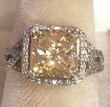 3.25 CTW Radiant  Moissanite Real  Diamonds  Engagement Ring 14K White Gold