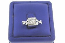 Special Price 10k White Gold 0.85 CT Diamond Cluster Engagement Ring, 3.8gm