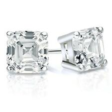 4 Ct Asscher Cut Earrings Studs Real 18K White Gold Brilliant Basket Screwback
