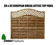 European Fence panel 1.8m x 0.9m (6 x 3) Omega Decorative Lattice Top Tanalised