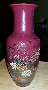 Japanese Maroon color Floral Ceramic Vase Gold Inlay