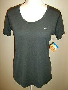 NWT $30 Columbia Womens M/M Omni-Wick (40 UPF) Short Sleeve Gray Top Shirt