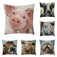 Pig Cow Animal Pillowcase Pillow Case Cushion Cover Sofa Home Car Decor ME