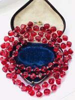 Art Deco Clear Red Shaped Glass Necklace Flapper length