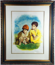 "FRAMED SIGNED LITHOGRAPH BY SANDU LIBERMAN LTD EDITION OF 250 ""TWO BOYS"""
