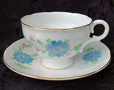 Vintage Adderley Bone China Footed Cup Saucer Duo Hand Painted Floral Gold Rim
